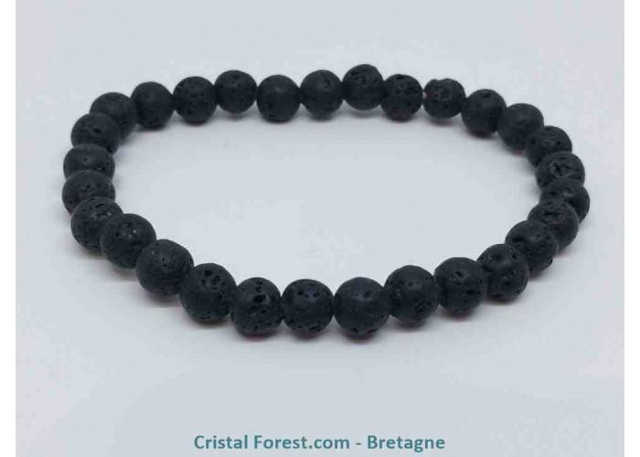 Pierre de lave (Basalte) - Bracelets boules - boules : 6 mm / Long : 17 cm / 9g.