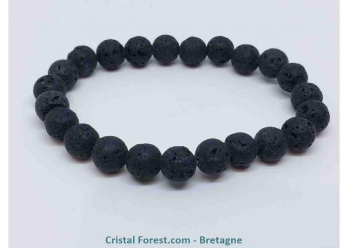 Pierre de lave (Basalte) - Bracelets boules - boules : 8 mm / Long : 16,5 cm / 17 g.