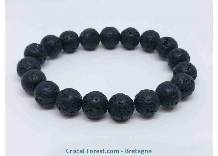 Pierre de lave (Basalte) - Bracelets boules - boules :10 mm. /Long :16,5 cm / 25 g.