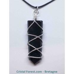 Obsidienne noire - Pendentifs pointes cerclés métal