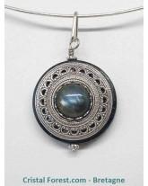 Labradorite silver filled (10% d'argent 925) - Pendentif amulette