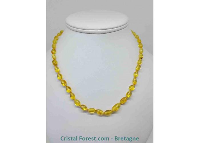 Ambre véritable - colliers adultes  - 50 cm / perle olives 9-12 mm / 15 gr / ambre jaune
