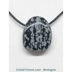 Obsidienne flocon de neige - Pendentif pierre percée
