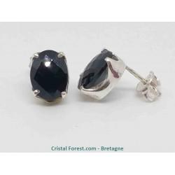 Spinelle Noire facettée - Boucles d'oreilles Argent
