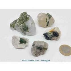Tourmaline Verte (Verdelite) - Pierre brute cristalisée sur gangue de Quartz