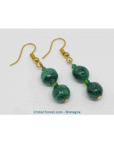 Malachite - Boucles d'oreilles fermoir crochet