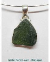 Moldavite (Tectite) - Pendentif Serti Argent
