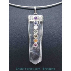 Cristal de roche - Pendentif Pointe - 7 Chakras