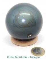Sphère d'Obsidienne Manta Huichol (Mentogochol) - Qualité EXTRA !