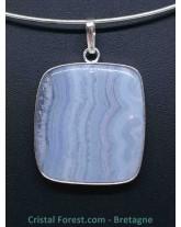 Calcédoine Bleue - Pendentif serti couleur argent