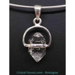 Cristal diamant d'Herkimer - Pendentifs serti Argent