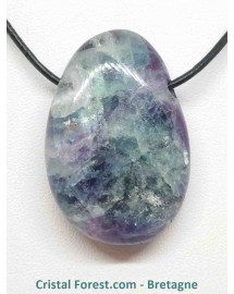 Fluorite (fluorine) - Pendentif - Galet pierre percée