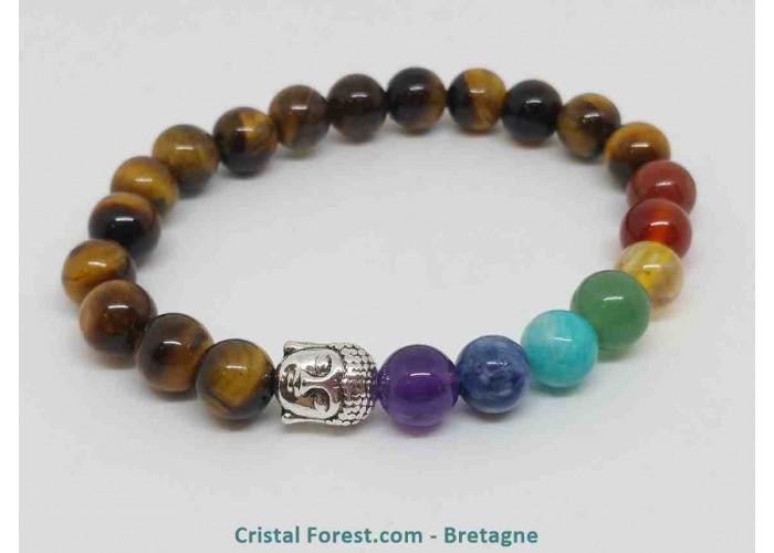 Oeil de Tigre - Bracelet 7 Chakras - Bouddha - Longueur : 16.5cm extensible (tour du poignet). Boules de 8 mm