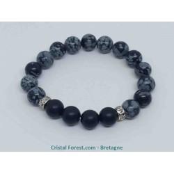 Obsidienne Flocon de Neige et Onyx dépoli - Bracelet boules 10 mm