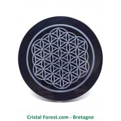 Obsidienne noire - Disque gravé - Fleur de vie