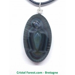 """Obsidienne arc-en-ciel (oeil céleste) - Pendentifs """"Vierge"""" Cerclage Argent"""
