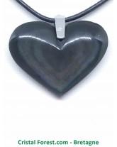 Obsidienne Mentogochol (Manta Huichol) - Pendentifs Coeur