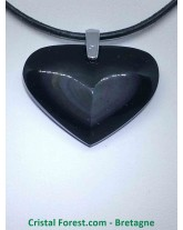 Obsidienne oeil céleste (Arc en ciel) - Pendentifs coeur