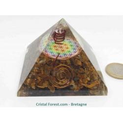 Pyramide orgonite Oeil de Tigre & fleur de vie - Pointe ébréchée