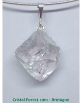 Cristal diamant d'Herkimer - Pendentif Brut - bélière en Argent