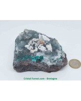 Dioptase / Quartz - Pierre brute sur Gangue - Collection