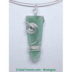 Aventurine Verte - Pendentif pointe - divers cerclages métal