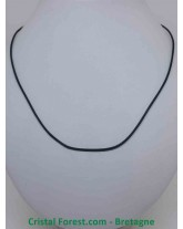 Cordon 53 cm en cuir lisse avec fermoir argenté