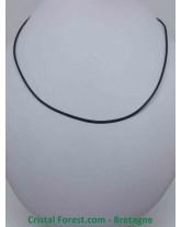 Cordon 46 cm en cuir lisse avec fermoir argenté