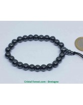 Hématite Aimantée - Bracelet Mala Tibétain - Boules 8mm