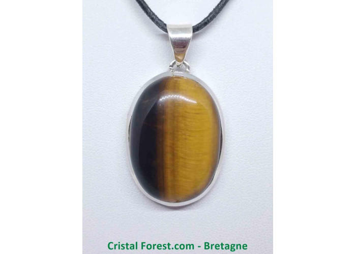 Oeil de tigre - Pendentif serti Argent - Qualité Joaillerie - 3,2 x 2,3cm / 16,30gr