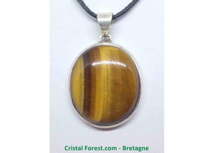 Oeil de tigre - Pendentif serti Argent - Qualité Joaillerie - 3,2 x 2,8cm / 18,12gr