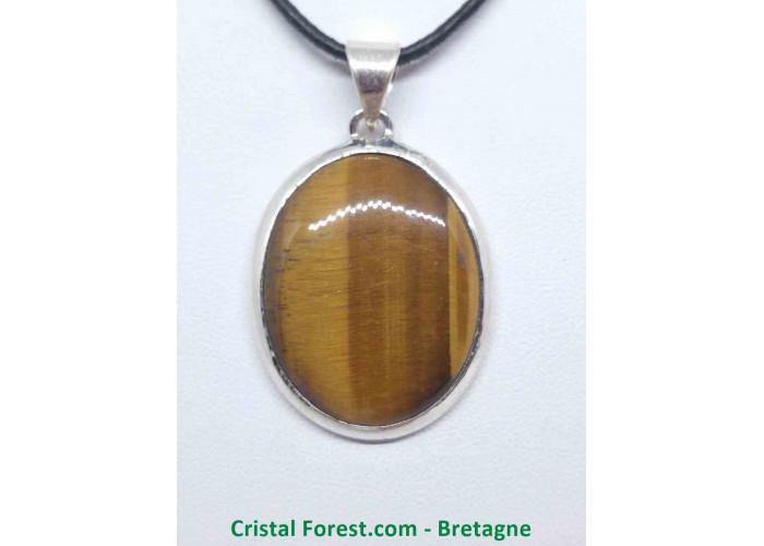 Oeil de tigre - Pendentif serti Argent - Qualité Joaillerie - 2,9 x 2,2cm / 9,71gr