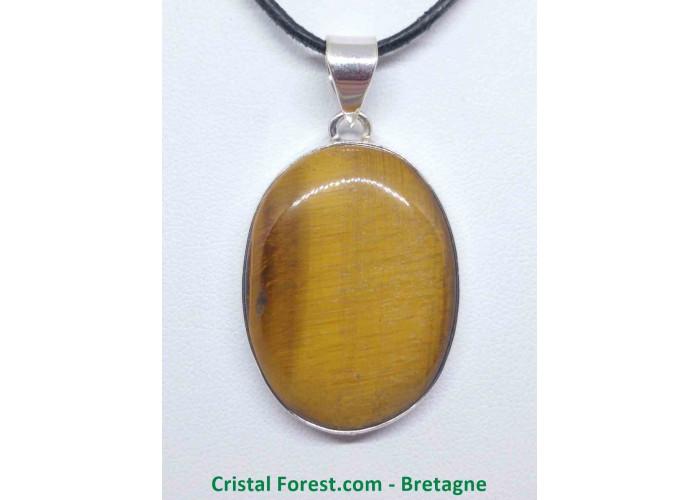 Oeil de tigre - Pendentif serti Argent - Qualité Joaillerie - 3,3 x 2,7cm / 12,94gr