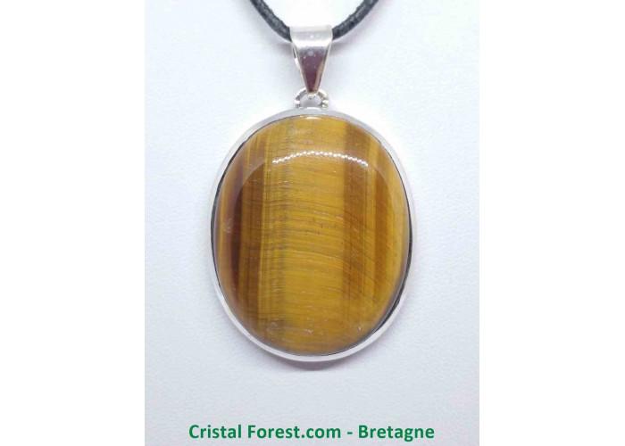 Oeil de tigre - Pendentif serti Argent - Qualité Joaillerie - 3,6 x 2,9cm / 23,25gr
