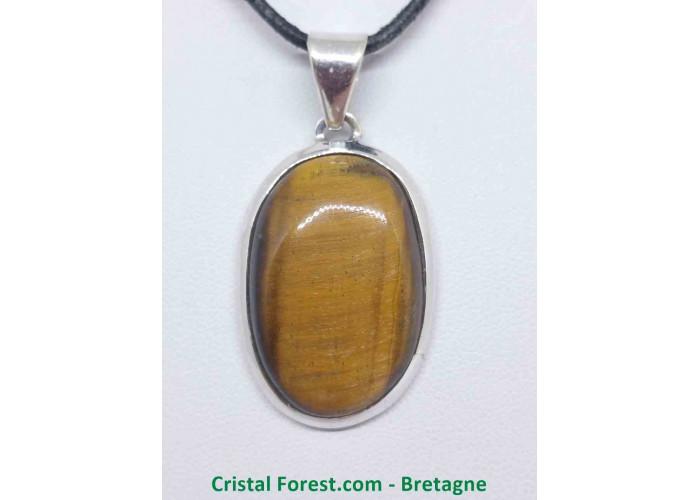 Oeil de tigre - Pendentif serti Argent - Qualité Joaillerie - 2,8 x 1,9cm / 9,67gr