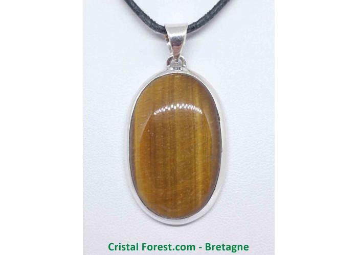Oeil de tigre - Pendentif serti Argent - Qualité Joaillerie - 3,4 x 2,2cm / 11,06gr