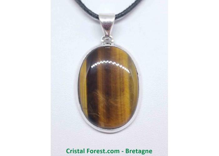 Oeil de tigre - Pendentif serti Argent - Qualité Joaillerie - 3,3 x 2,3cm / 11,76gr