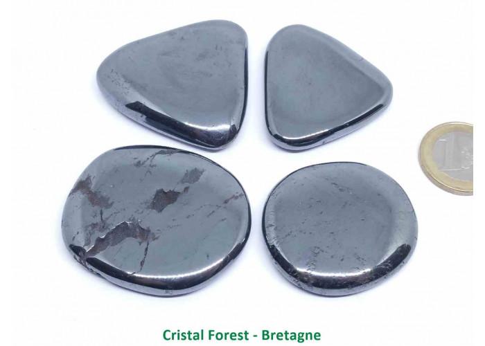 Hématite - Galet Plat  - 4 à 4,8cm / 49 gr env.