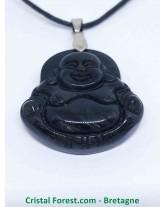 Obsidienne Argentée - Pendentif Bouddha