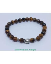 Oeil de Tigre - Bracelet Boules et Bouddha