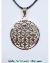 Fleur de vie - pendentif métal doré