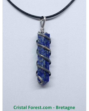 Lapis Lazuli - Pendentif Pointe 6 Faces - Spirale
