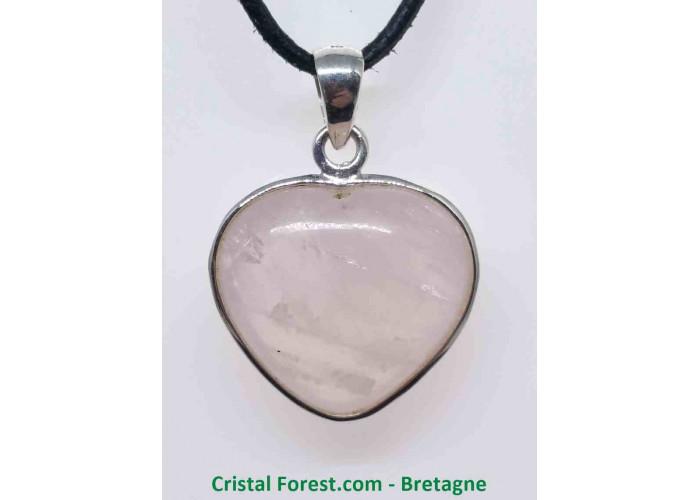 Quartz Rose - Pendentif Coeur serti Argent