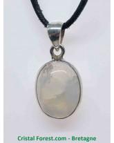 Labradorite Blanche (Arc en Ciel) - Pendentif Serti Argent