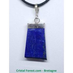 Lapis lazuli - Pendentif Serti Argent - Une Face Brute