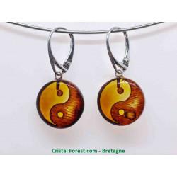 Ambre véritable - Boucles d'oreilles Yin Yang - Fermoir Argent
