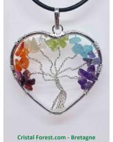7 Chakras - Arbre de vie - Pendentif Coeur