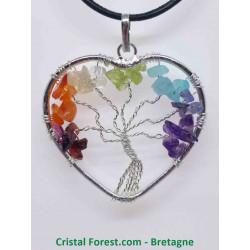 Pendentif Coeur aux 7 Chakras & Arbre de vie