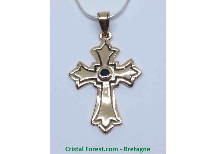 Croix Latine - Bronze et Onyx - 3 x 2,2 x 0,15cm / 3,90gr