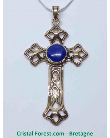 Croix Latine - Bronze et Lapis Lazuli